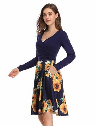 MISSKY Women's V-Neck Floral Fit and Flare Swing Dress (Blue Mix Flower XL)