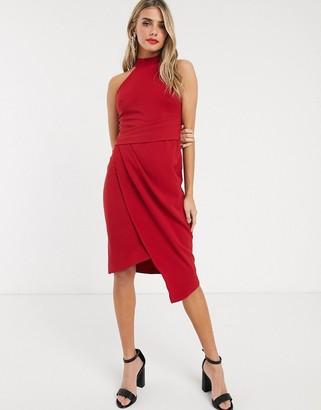 Lipsy halterneck asymmetric pencil dress in red