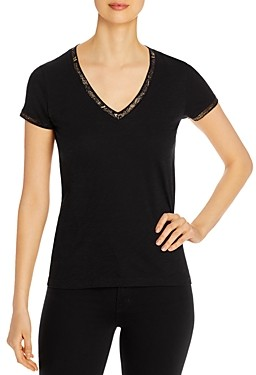 Elan International Cotton Metallic Trim T-Shirt