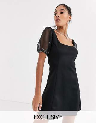 Another Reason square neck mini dress with organza puff sleeves-Black