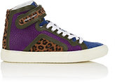 Pierre Hardy WOMEN'S MIXED-MATERIAL HIGH-TOP SNEAKERS-BLUE, PURPLE SIZE 6