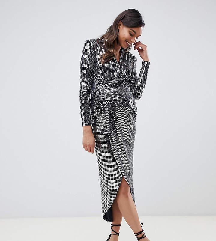 Queen Bee contrast wrap front sequin maxi dress in silver