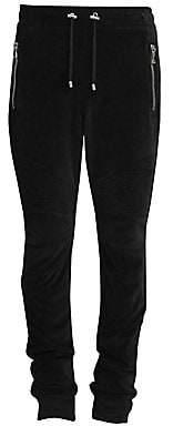 Balmain Men's Ribbed Velvet Zip Sweatpants