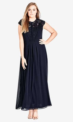 City Chic Navy Lace Bodice Maxi Dress in Navy Blue Size 14/X-Small Polyester