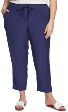 1 STATE Trendy Plus Size Flat-Front Drawstring Ankle Pants