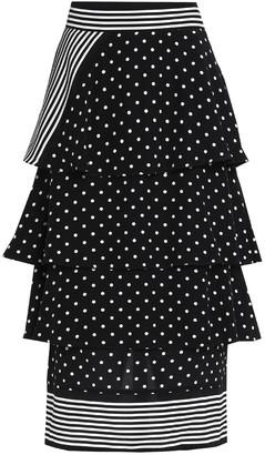 Stella McCartney Tiered Polka-dot Silk-crepe Midi Skirt
