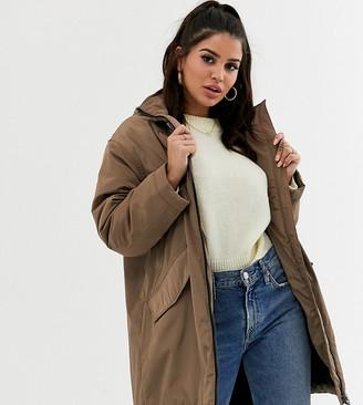ASOS DESIGN Petite faux fur raincoat in mink