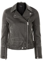 Topshop Washed Faux Leather Biker Jacket