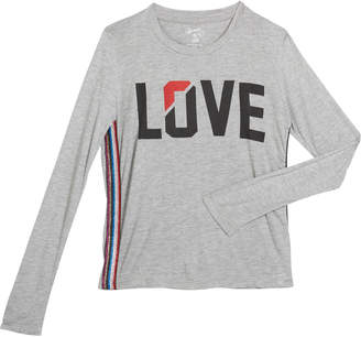 Flowers by Zoe Girl's Love Long-Sleeve Top w/ Metallic Side Taping, Size S-XL