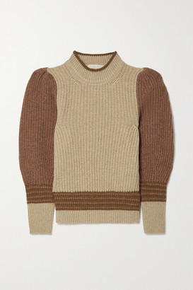 Vanessa Bruno - Poplia Color-block Ribbed Alpaca-blend Sweater - Beige