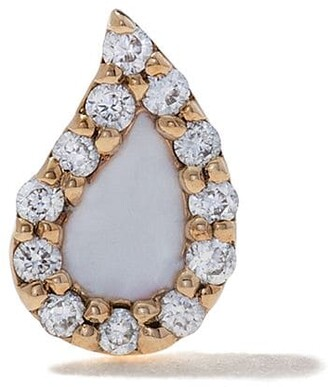 Alison Lou 14kt Yellow Gold Enamel Diamond Drop Stud Earring