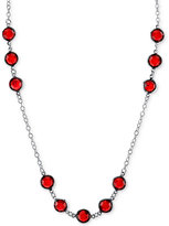 2028 Silver-Tone Red Crystal Long Statement Necklace