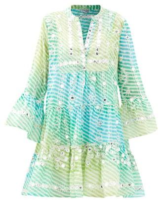Juliet Dunn Mirror-work Tiered Gauze Dress - Blue Multi
