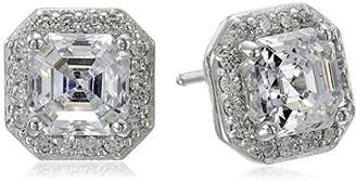 Swarovski La Lumiere Platinum Plated Sterling Silver Made with Cubic Zirconia from 1cttw) Asscher-Cut Halo Earrings