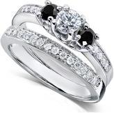 Ice 2/3 CT TW Black and White Diamond 14K White Gold Bridal Set