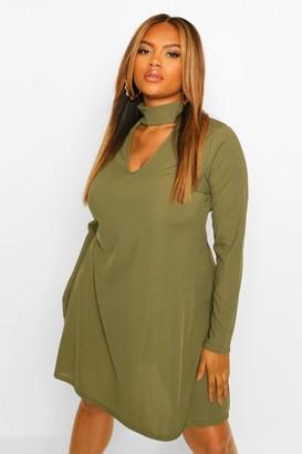 boohoo Plus Cut Out High Neck Swing Dress