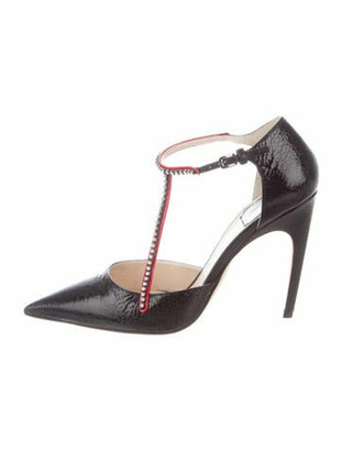 Christian Dior Patent Leather Crystal Embellishments T-Strap Pumps Black