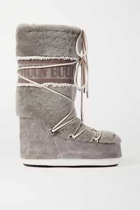 Yves Salomon Moon Boot Shearling And Suede Snow Boots - Gray