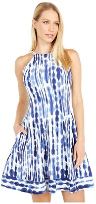 Vince Camuto Printed Crepe Halter Fit-and-Flare with Border Hem (Ivory/Navy) Women's Dress