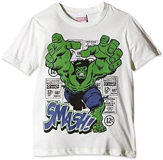 Marvel Boy's Hulk Smash T-Shirt, Multicoloured (White/Green), 9-10 Years (Manufacturer Size:)