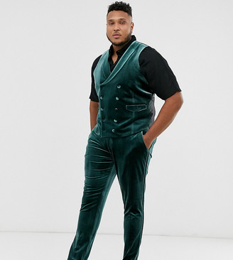 ASOS DESIGN Plus super skinny tuxedo trousers in forest green velvet