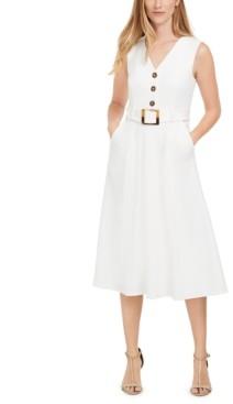 Calvin Klein Button-Trim Belted Fit & Flare Dress