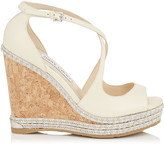 Jimmy Choo DAKOTA 120 Off White Wedge Sandals with Tonal Metallic Raffia