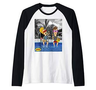 Pool' Beavis and Butthead Lounging By The Pool Portrait Raglan Baseball Tee