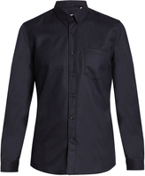 Ami Point-collar patch-pocket wool shirt