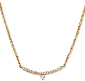 "AVA NADRI 18k Gold-Plated Cubic Zirconia Curved Bar Pendant Necklace, 16"" + 1"" extender"
