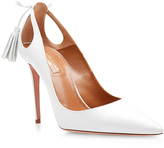 Aquazzura Forever Marilyn White Leather Pumps with Cut-Out