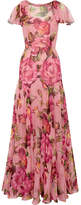 Dolce & Gabbana Floral-print Silk-chiffon Gown - Baby pink