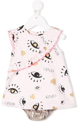 Kenzo Ruffled Eye-Print Dress