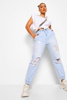 Thumbnail for your product : boohoo Ripped Denim Joggers