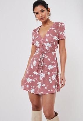 Missguided Blush Floral Half Button Tea Dress