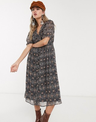 Object puff sleeve midi dress in paisley print
