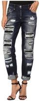 Philipp Plein Dark Wash Boyfriend Cut Distressed Denim in Dark Blue Women's Jeans