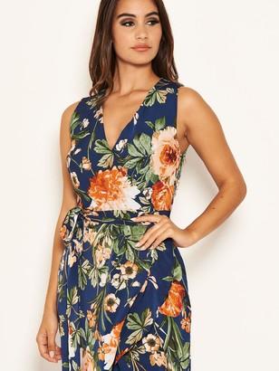 AX Paris Floral Printed Wrap Dress - Navy