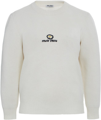 Miu Miu Logo-Embroidered Wool Sweater