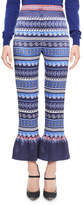 Mary Katrantzou Printed Satin Ruffle-Cuff Pants, Blue