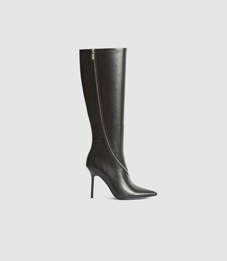 Reiss Hoxton Knee High - Leather Knee High Boots in Black