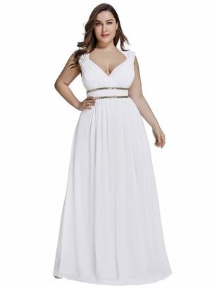 Ever Pretty Ever-Pretty Women's Long Chiffon V Neck Floor Length Empire Waist Formal Dresses Burgandy UK24 Plus Size