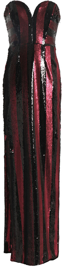 Milly Strapless Sequin Striped Gown