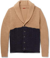 Barena Shawl-collar Two-tone Waffle And Cable-knit Cardigan - Navy