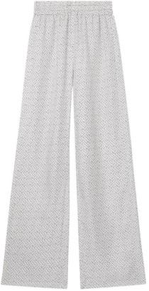 Burberry Silk Monogram Wide-Leg Trousers