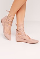 Missguided Ghillie Lace Up Pointed Flat Shoes Pink