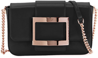 Roger Vivier Tres Vivier Micro Leather Clutch Bag with Shoulder Strap