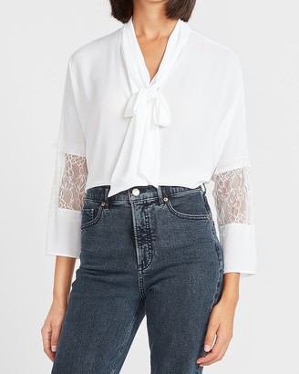 Express Lace Sleeve Tie Neck Top