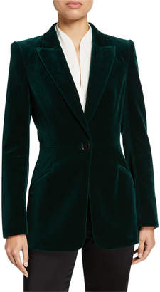 Elie Tahari Madison One-Button Velvet Jacket