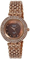 Burgi Women's BUR126RG Diamond & Crystal Accented Mother-of-Pearl Swiss Quartz Rose Gold Bracelet Watch